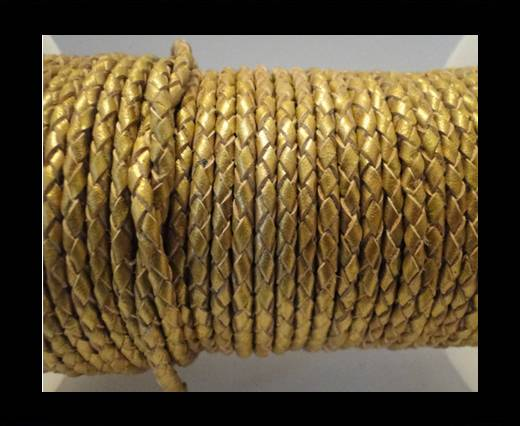 Round Braided Leather Cord SE/M/Golden - 8mm