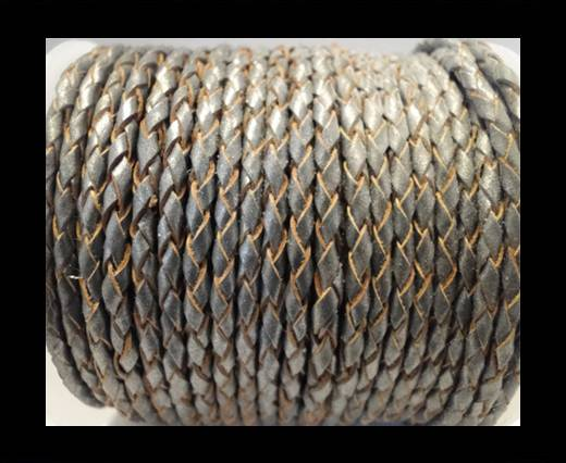 Round Braided Leather Cord SE/B/2026-Dark Grey - 4mm