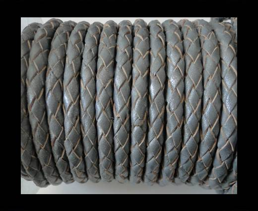 Round Braided Leather Cord SE/B/Grey-6mm