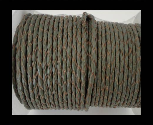 Round Braided Leather Cord SE/B/Khakhi-natural edges-4mm