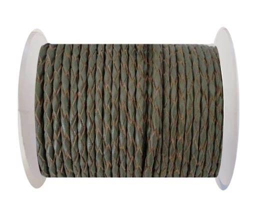 Round Braided Leather Cord SE/B/Khakhi-natural edges-4mm