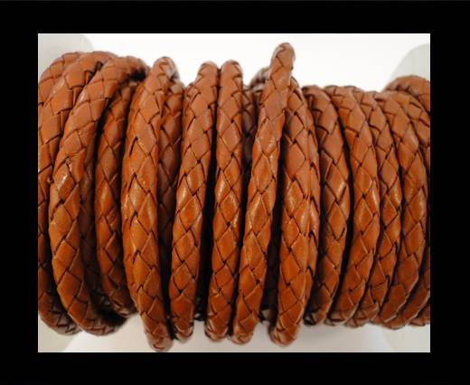 Round Braided Leather Cord SE/B/Orange - 6mm