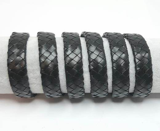 Oval Braided Leather Cord-15mm-SE_Black