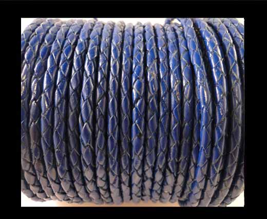 Round Braided Leather Cord SE/Dark Blue - 3mm