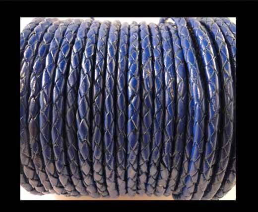 Round Braided Leather Cord SE/Dark Blue-4mm