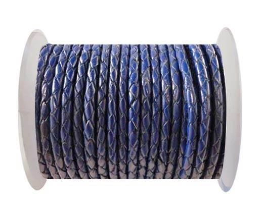 Round Braided Leather Cord SE/Dark Blue-4mm