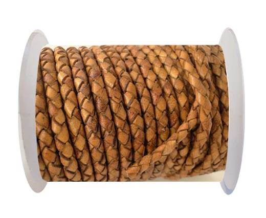 Round Braided Leather Cord SE/DB/02-Cinnamon - 4mm