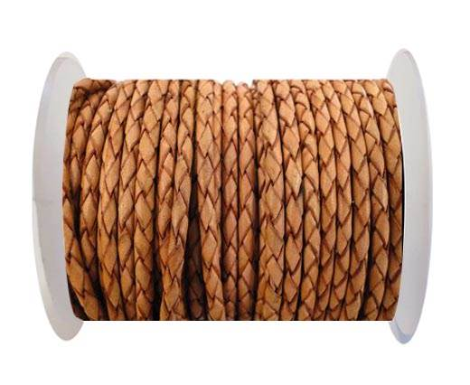 Round Braided Leather Cord SE/DB/16-Washed Red-4mm