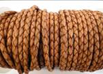 Round Braided Leather Cord SE/DB/16-Washed Red-5mm