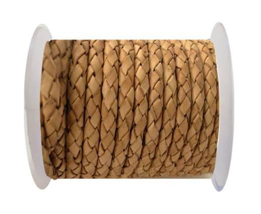 Round Braided Leather Cord SE/DB/21-Vintage Beige - 3mm