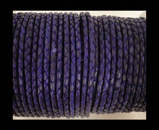 Round Braided Leather Cord SE/DB/Violet - 6mm
