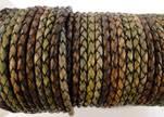 Round Braided Leather Cord SE/DM/01-Vintage Night Shades - 4mm