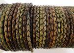 Round Braided Leather Cord SE/DM/01-Vintage Night Shades-6mm