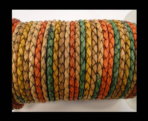 Round Braided Leather Cord SE/DM/02-Sunrise - 4mm