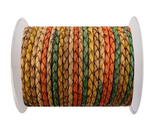 Round Braided Leather Cord SE/DM/02-Sunrise - 4mm