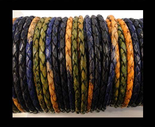 Round Braided Leather Cord SE/DM/03-Night Shades - 3mm