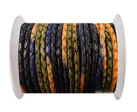 Round Braided Leather Cord SE/DM/03-Night Shades - 4mm