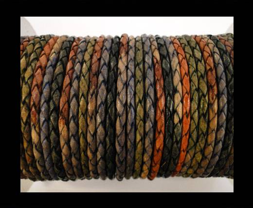 Round Braided Leather Cord SE/DM/04-Dark Shades - 4mm
