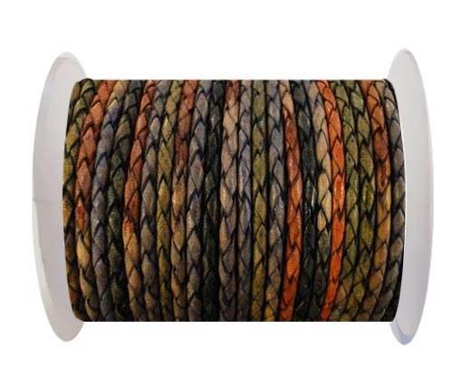 Round Braided Leather Cord SE/DM/04-Dark Shades - 4mm