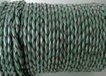 Round Braided Leather Cord SE/M/02-Metallic Mint-3mm
