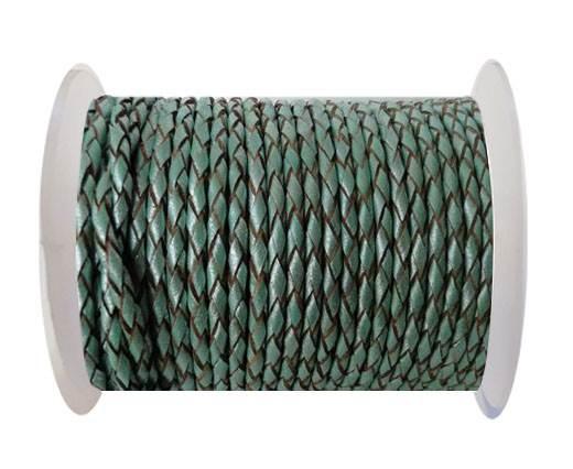 Round Braided Leather Cord SE/M/02-Metallic Mint-4mm