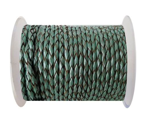 Round Braided Leather Cord SE/M/02-Metallic Mint-5mm