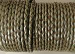 Round Braided Leather Cord SE/M/10-Metallic Olive Green - 3mm
