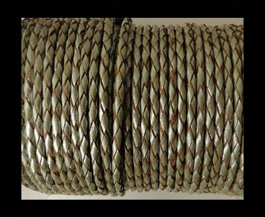 Round Braided Leather Cord SE/M/10-Metallic Olive Green - 4mm