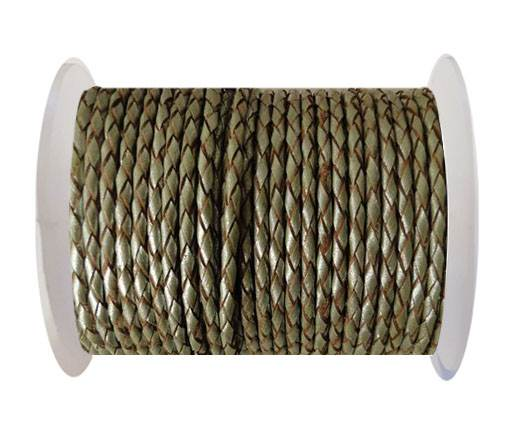 Round Braided Leather Cord SE/M/10-Metallic Olive Green - 5mm