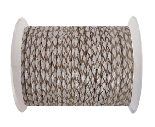 Round Braided Leather Cord SE/M/11-Metallic Salmon-4mm