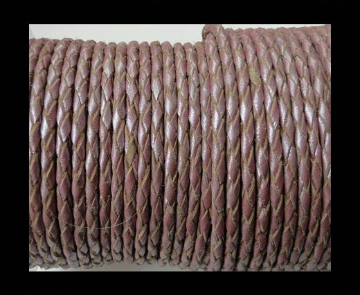 Round Braided Leather Cord SE/M/15-Metallic Plum-3mm