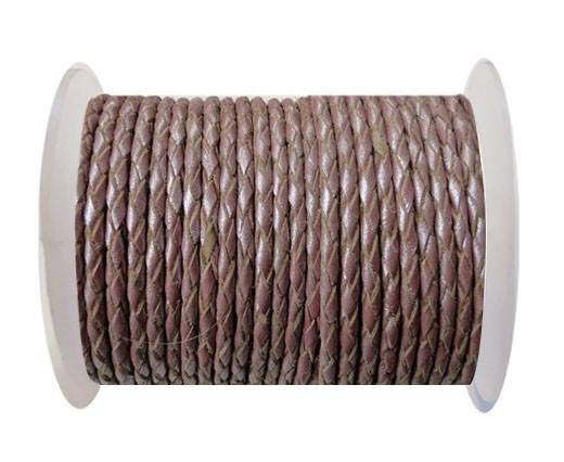 Round Braided Leather Cord SE/M/15-Metallic Plum-4mm
