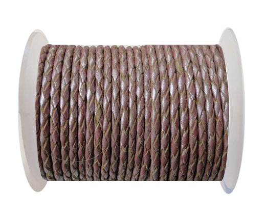 Round Braided Leather Cord SE/M/15-Metallic Plum-5mm