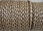 Round Braided Leather Cord SE/M/202-Metallic Topaz-3mm