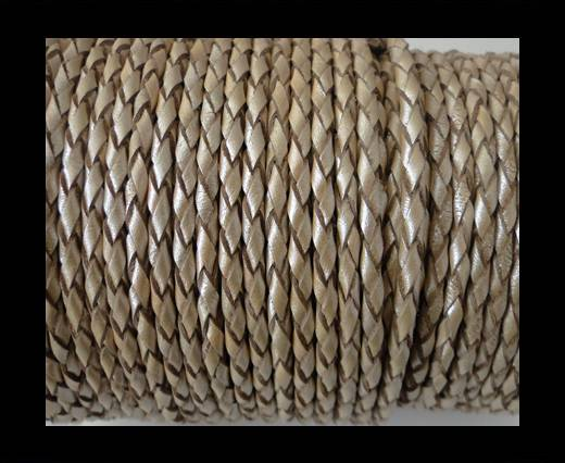 Buy Round Braided Leather Cord SE/M/202-Metallic Topaz-4mm at wholesale prices