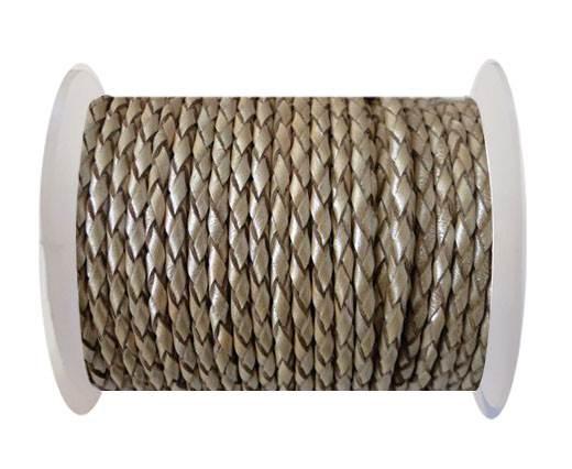 Round Braided Leather Cord SE/M/202-Metallic Topaz-4mm
