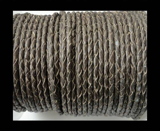 Round Braided Leather Cord SE/M/Bronze-4mm