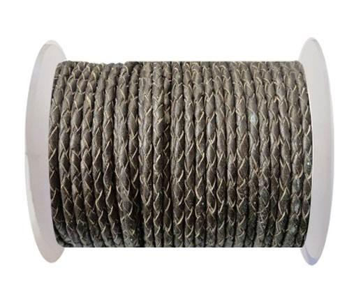 Round Braided Leather Cord SE/M/Bronze-4mm