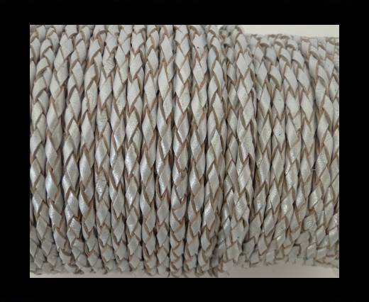Round Braided Leather Cord SE/M/Silver - 8mm