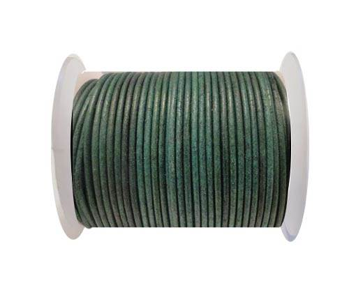 Round Leather Cord SE/R/Matt Finish-Green - 3mm