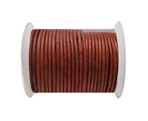 Round Leather Cord SE/R/Matt Finish-Red - 3mm