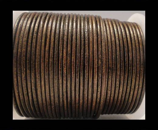 Round Leather Cord SE/R/Metallic Tamba - 3mm