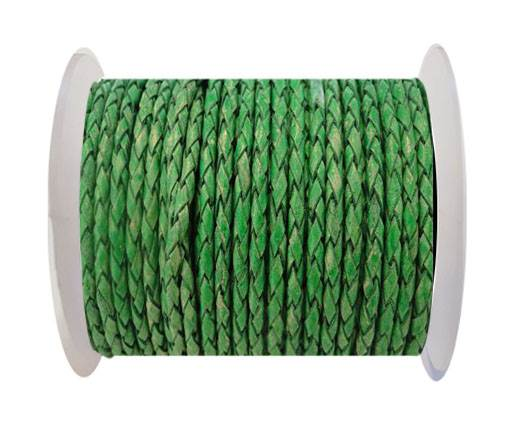 Round Braided Leather Cord SE/PB/01-Vintage Moss Green-3mm