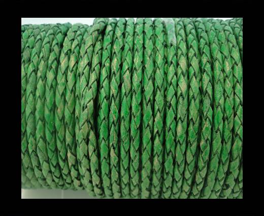 Round Braided Leather Cord SE/PB/01-Vintage Moss Green-6mm