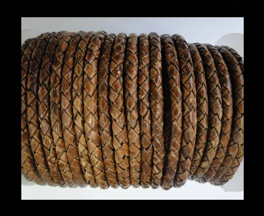 Round Braided Leather Cord SE/PB/04-Hazelnut - 4mm