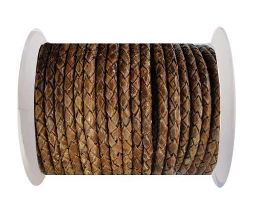Round Braided Leather Cord SE/PB/04-Hazelnut - 4mm