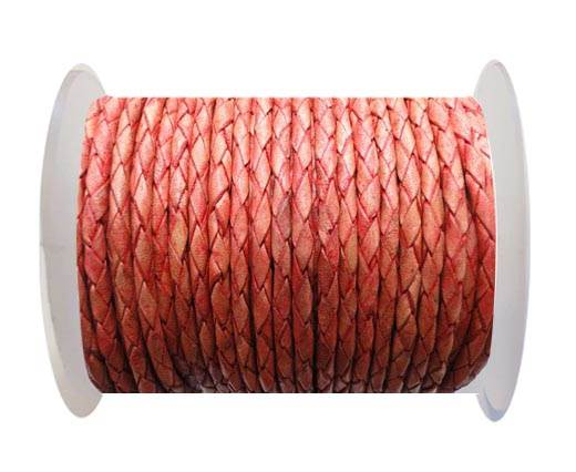 Round Braided Leather Cord SE/PB/05-Terracotta - 4mm