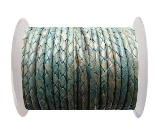 Round Braided Leather Cord SE/PB/08-Vintage Sea Blue - 4mm