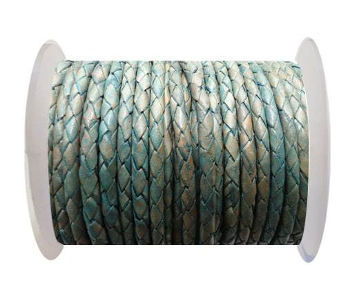 Round Braided Leather Cord SE/PB/08-Vintage Sea Blue - 6mm