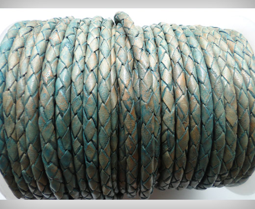 Round Braided Leather Cord SE/PB/08-Vintage Sea Blue - 5mm